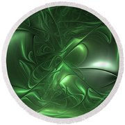 Fractal Living Green Metal Round Beach Towel