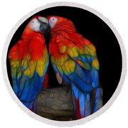 Fractal Parrots Round Beach Towel