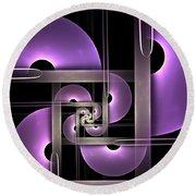 Fractal Purple Semicircles Round Beach Towel