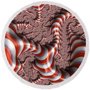 Fractal Red And White Round Beach Towel