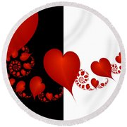 Fractal Red Hearts Round Beach Towel