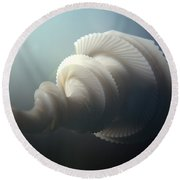 Fractal Seashell  Round Beach Towel by Pixel  Chimp