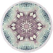 Fractal Snowflake Pattern 1 Round Beach Towel