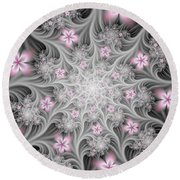 Fractal Soft Flowers Round Beach Towel