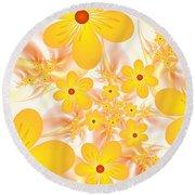 Fractal Yellow Flowers Round Beach Towel