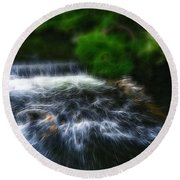 Fractalius - River Wye Waterfall - In Peak District - England Round Beach Towel
