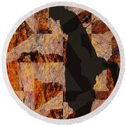Fractured Overlay I Round Beach Towel