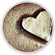 Imprint On My Heart Round Beach Towel