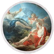 Fragonard's Diana And Endymion Round Beach Towel