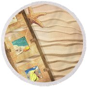 Frame With Postcards Round Beach Towel by Amanda Elwell