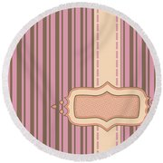Frame With Ribbon Pinstripe Vector Round Beach Towel
