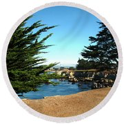 Framed By Cypress Trees Round Beach Towel