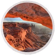 Framed By Mesa Arch Round Beach Towel