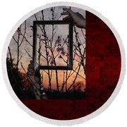 Framed Cherry Blossoms - Featured In Comfortable Art And Nature Groups Round Beach Towel