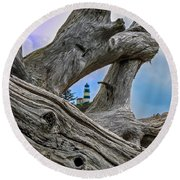 Framed Lighthouse Round Beach Towel by Robert Bales