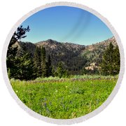 Framed Mountain Landscape Round Beach Towel