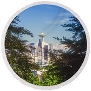 Framed Space Needle Round Beach Towel