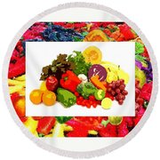 Framed Veggies Round Beach Towel