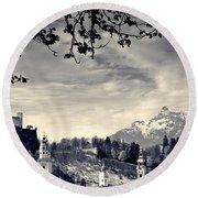 Framed View Of Salzburg From Kapuzinerberg Round Beach Towel
