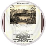 Framed Vintage 23rd Psalm Sepia Round Beach Towel