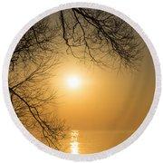 Framing The Golden Sun Round Beach Towel
