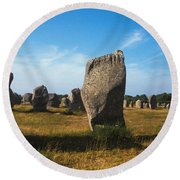 France Brittany Carnac Ancient Megaliths  Round Beach Towel