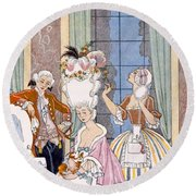 France In The 18th Century Round Beach Towel by Georges Barbier