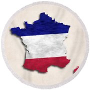 France Map Art With Flag Design Round Beach Towel