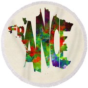 France Typographic Watercolor Map Round Beach Towel