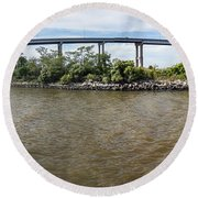 Francis Scott Key Bridge - Pano Round Beach Towel