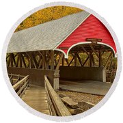 Franconia Notch Flume Gorge Bridge Round Beach Towel