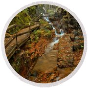 Franconia Notch Lush Greens And Rushing Waters Round Beach Towel