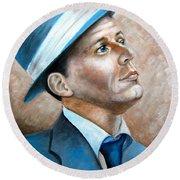 Frank Sinatra Ol Blue Eyes Round Beach Towel