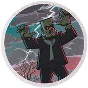 Frankenstein Creature In Storm  Round Beach Towel