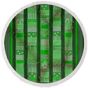 Frankensteins Quilt - Coin Quilt - Quilt Painting - Monster Green Patches Round Beach Towel
