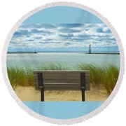 Frankfort Lighthouse Front Row Seats Available Round Beach Towel