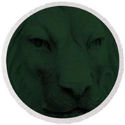 Frankie Lion Olive Green Round Beach Towel
