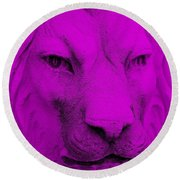 Frankie Lion Purple Round Beach Towel