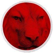 Frankie Lion Red Round Beach Towel