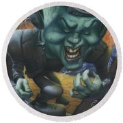 Frankinstein Playing The Air Guitar - Parody - Illustration - Monster Monsters - Humorous Round Beach Towel
