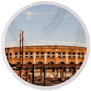 Franklin Field In The Morning Round Beach Towel