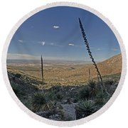 Franklin Mountains Landscape 4 Round Beach Towel