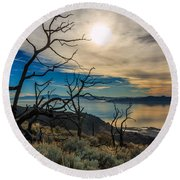 Frary Trail Trees Round Beach Towel