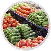 Frash Fruit And Vegetables Round Beach Towel