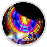 Freak Out ... Electric Rainbow Round Beach Towel