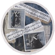Fred And Ginger Collage Round Beach Towel