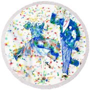 Fred Astaire And Ginger Rogers Watercolor Portrait Round Beach Towel