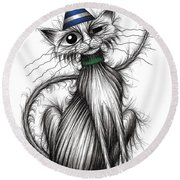 Fred The Cat Round Beach Towel