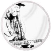 Freddy And His Guitar Round Beach Towel