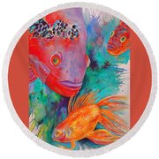 Freddy Fish And Friends Round Beach Towel